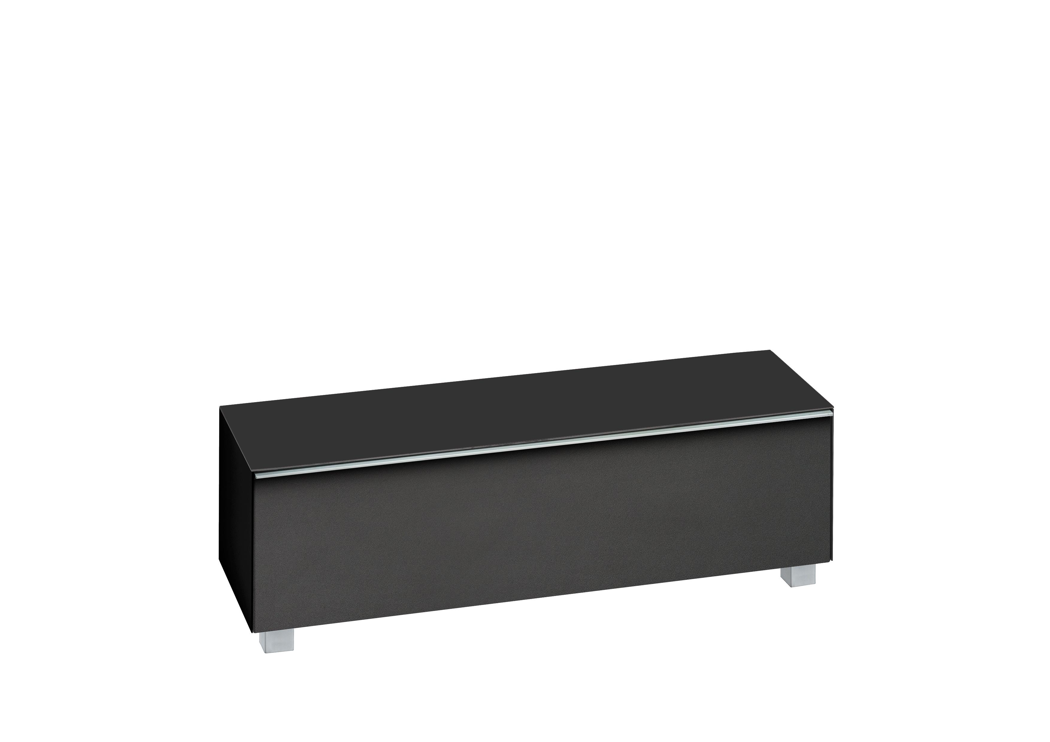 Meuble Tv Design Avec Ampli Home Cinema 140 Cm En Verre Noir Mat