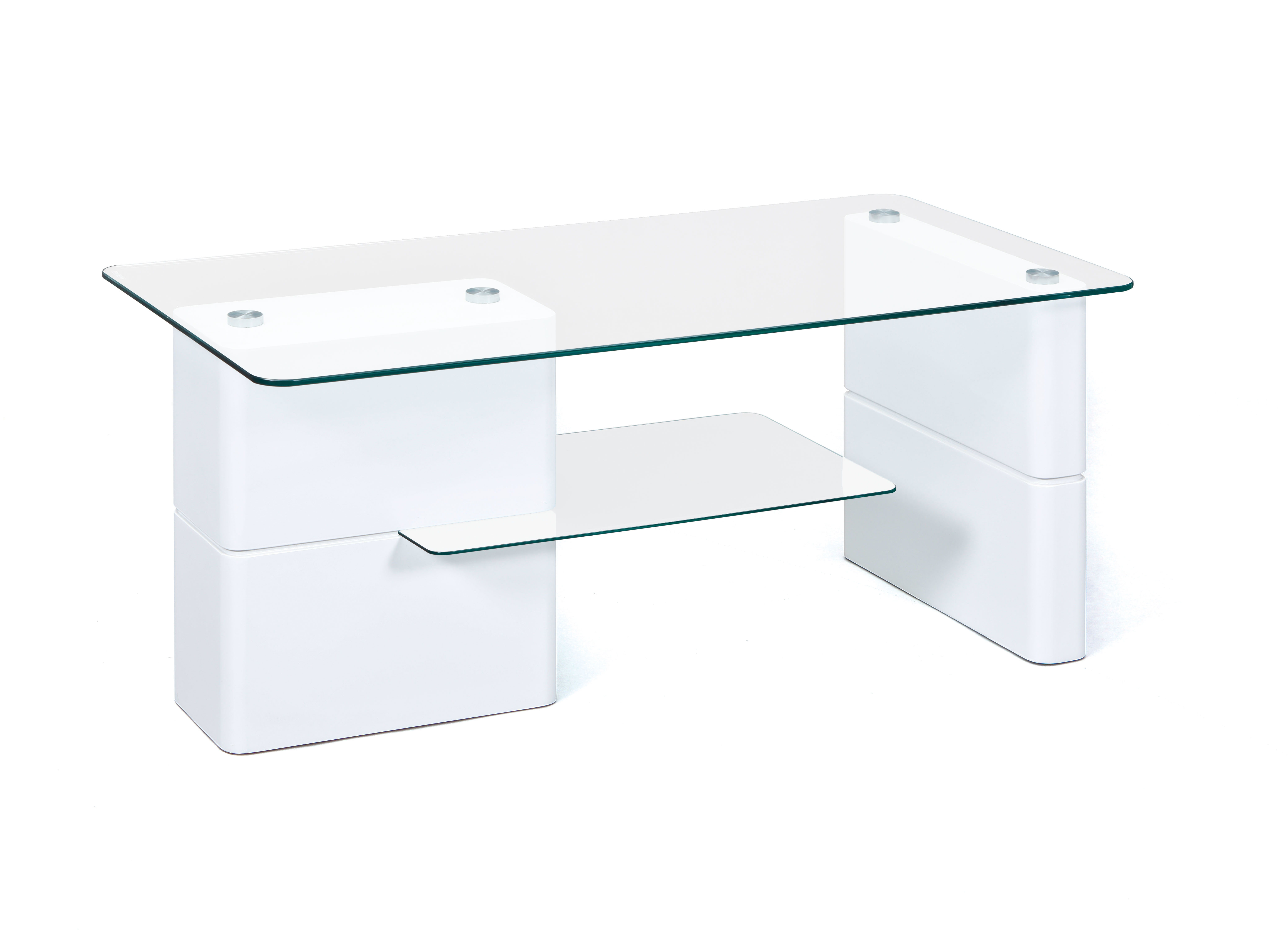 Table basse moderne blanche en verre Clea
