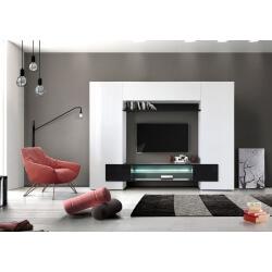 Banc TV design laqué blanc/noir béton Alaska