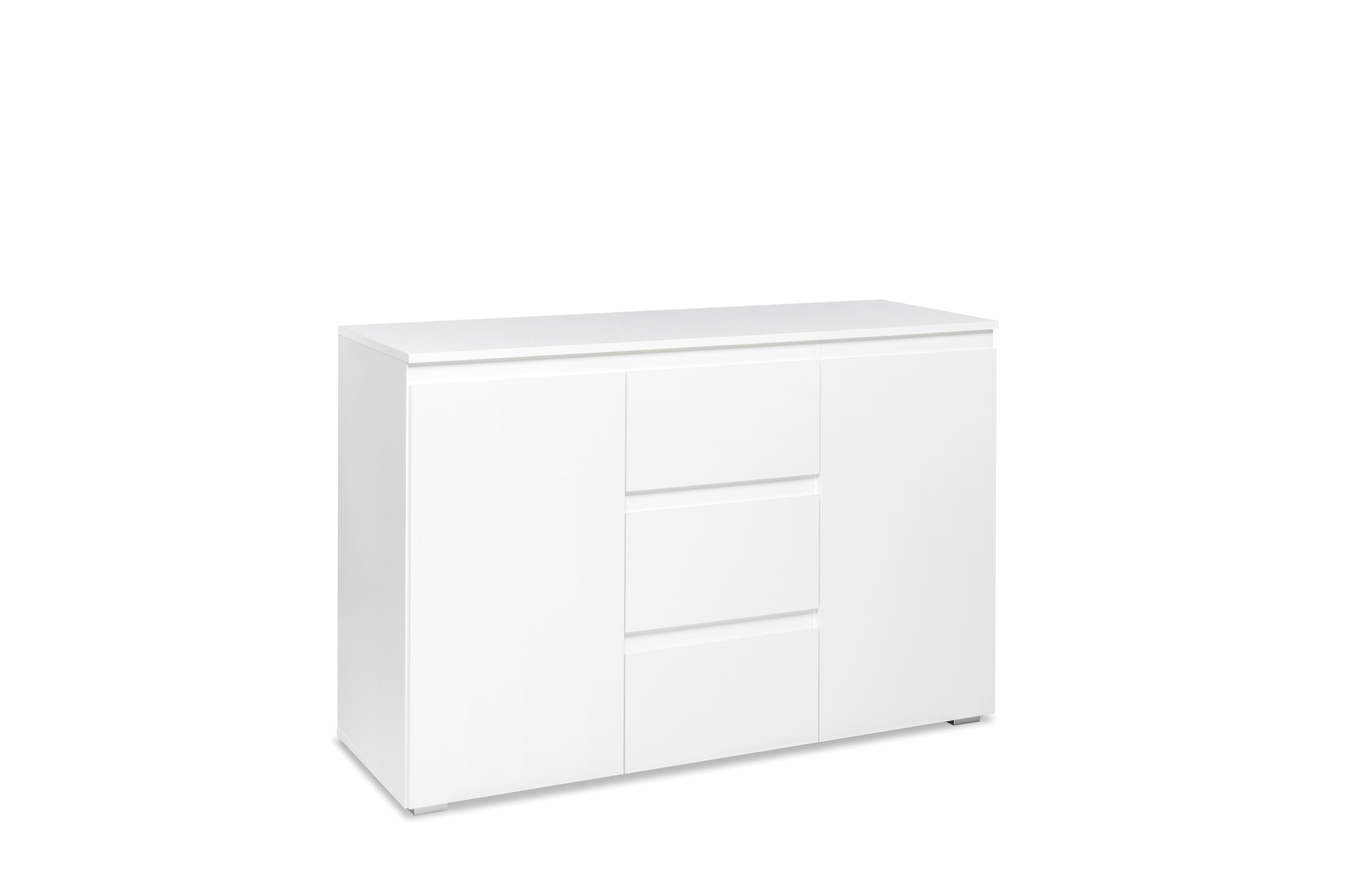 Meuble de rangement contemporain blanc mat 2 portes/3 tiroirs Sophiane