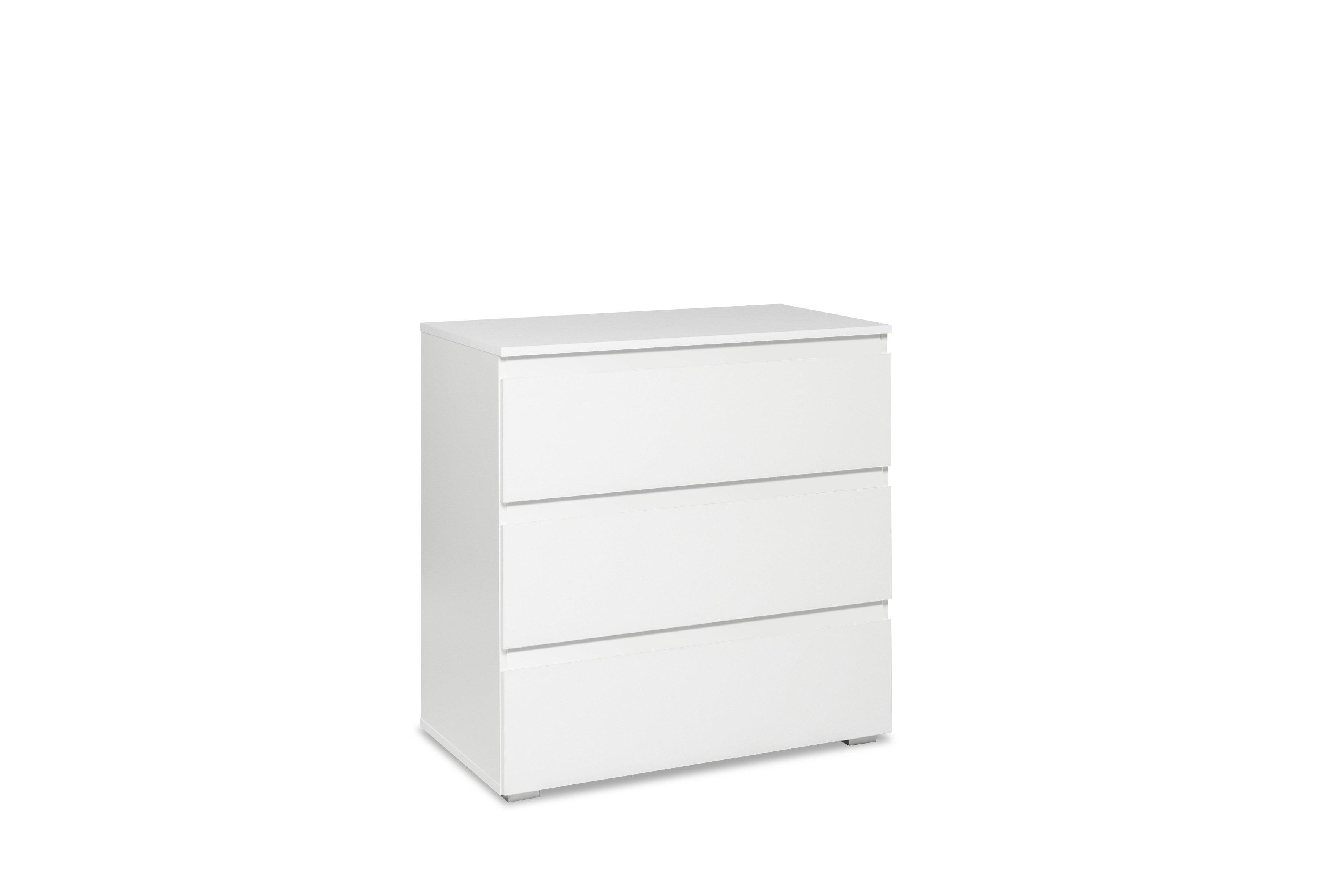Commode contemporaine 3 tiroirs blanc mat Sophiane