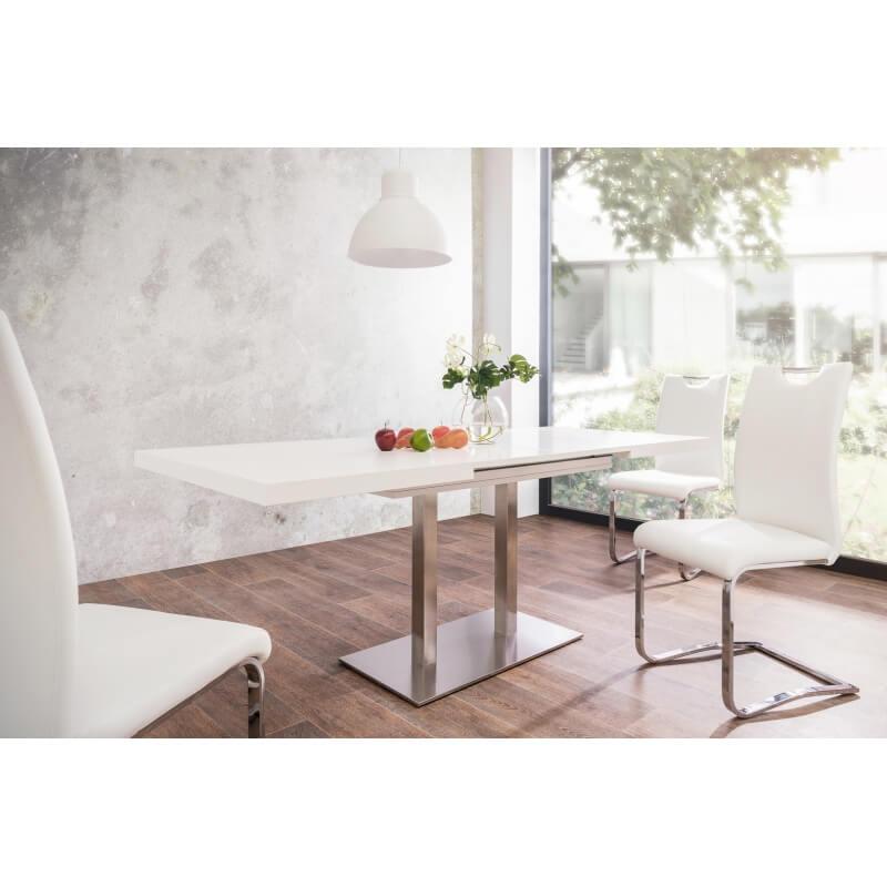 table de salle manger extensible design blanche calice matelpro. Black Bedroom Furniture Sets. Home Design Ideas
