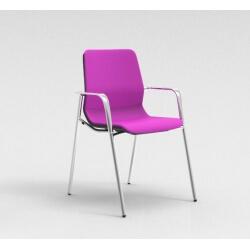 Chaise visiteur contemporaine métal chromé/tissu fuschia Eros