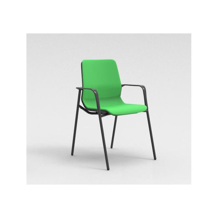 Chaise visiteur contemporaine métal graphite/tissu vert Eros