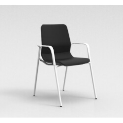 Chaise visiteur contemporaine métal blanc/tissu noir Eros
