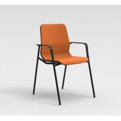 Chaise visiteur contemporaine métal noir/tissu orange Eros