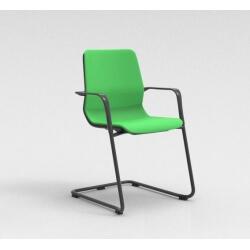 Chaise visiteur contemporaine métal graphite/tissu vert Eros II