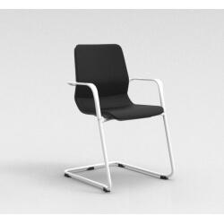 Chaise visiteur contemporaine métal blanc/tissu noir Eros II