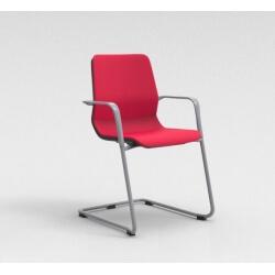 Chaise visiteur contemporaine métal argenté/tissu rouge Eros II