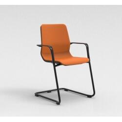 Chaise visiteur contemporaine métal noir/tissu orange Eros II