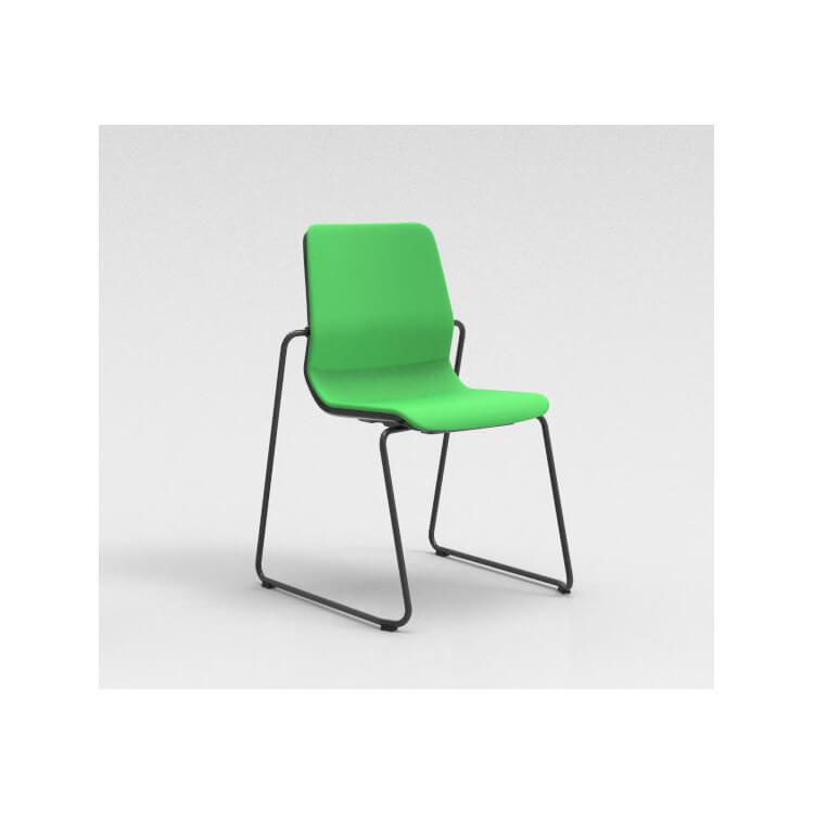 Chaise visiteur contemporaine pieds traineau métal graphite/tissu vert Eros
