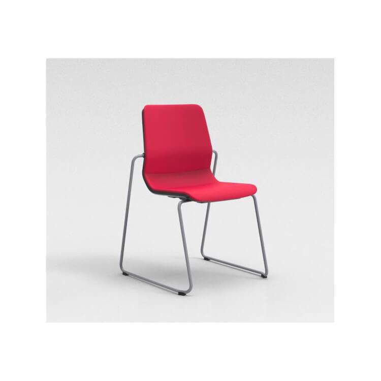 Chaise visiteur contemporaine pied traineau métal argenté/tissu rouge Eros
