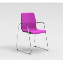 Chaise visiteur contemporaine pieds traineau métal chromé/tissu fuschia Eros II