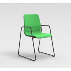 Chaise visiteur contemporaine pieds traineau métal graphite/tissu vert Eros II