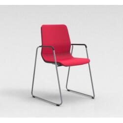 Chaise visiteur contemporaine pied traineau métal argenté/tissu rouge Eros II