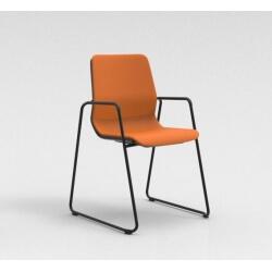 Chaise visiteur contemporaine pied traineau métal noir/tissu orange Eros II