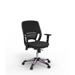 Chaise de bureau contemporaine en tissu noir Sacha