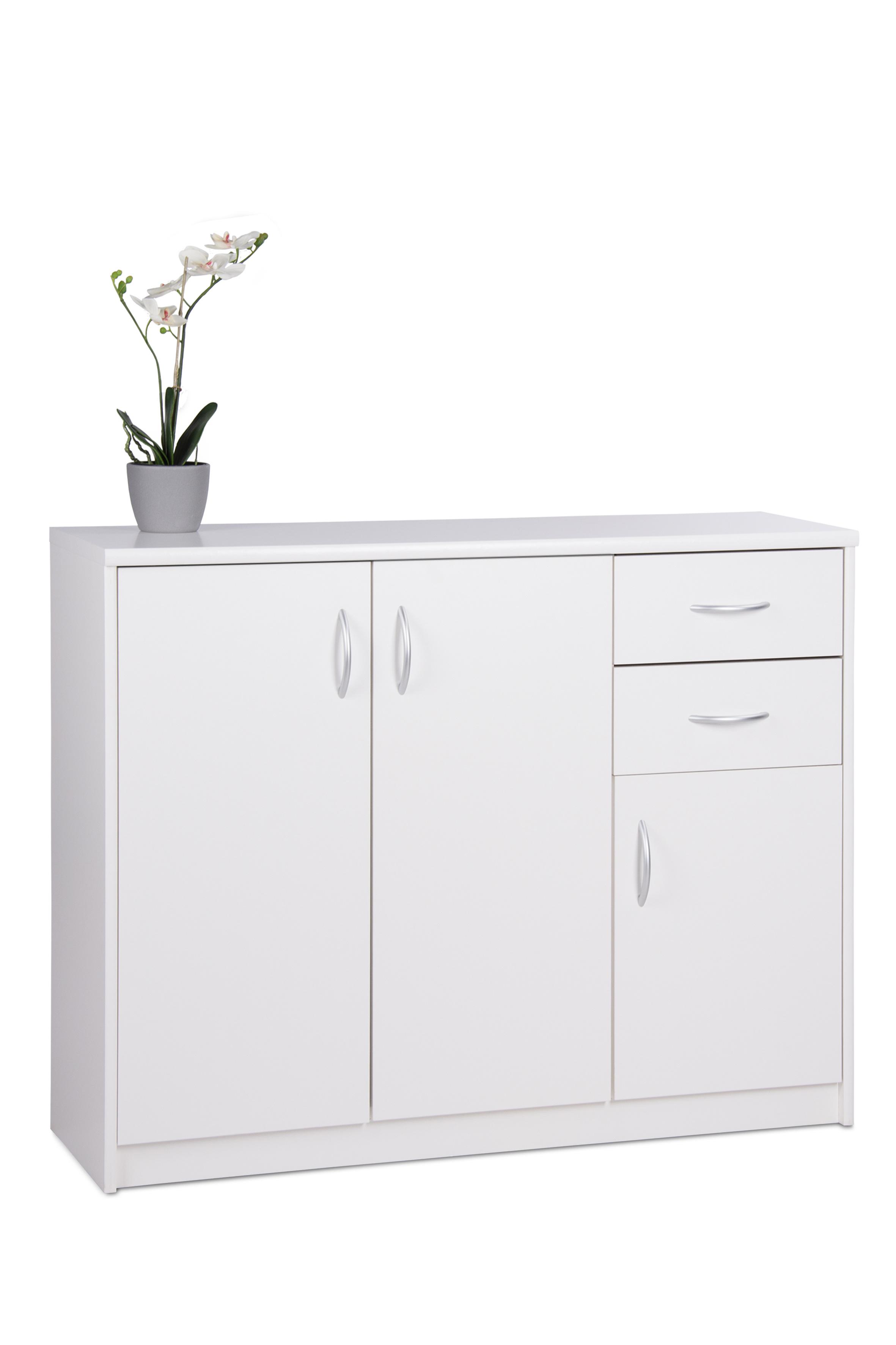 Meuble de rangement contemporain 3 portes/2 tiroirs blanc Niels II