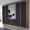 Armoire contemporaine 6 portes 271 cm chêne/anthracite Ursula
