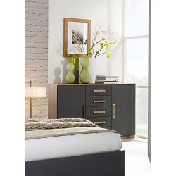 Commode contemporaine 2 portes/5 tiroirs chêne/anthracite Ursula