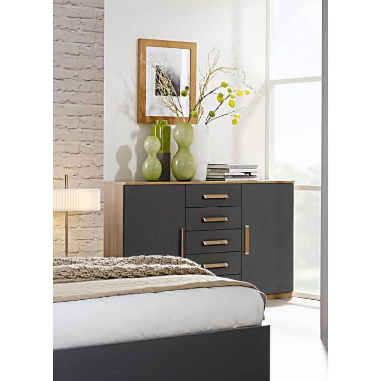 Commode contemporaine 2 portes/5 tiroirs chêne/anthracite Ursula
