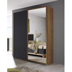 Armoire contemporaine portes coulissantes chêne/anthracite Ursula