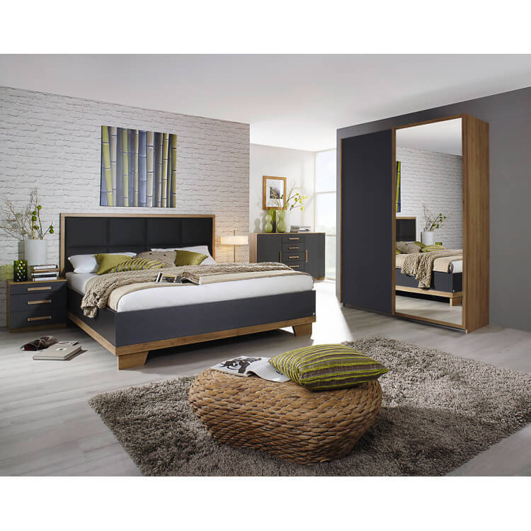 Chambre adulte contemporaine chêne/anthracite Ursula