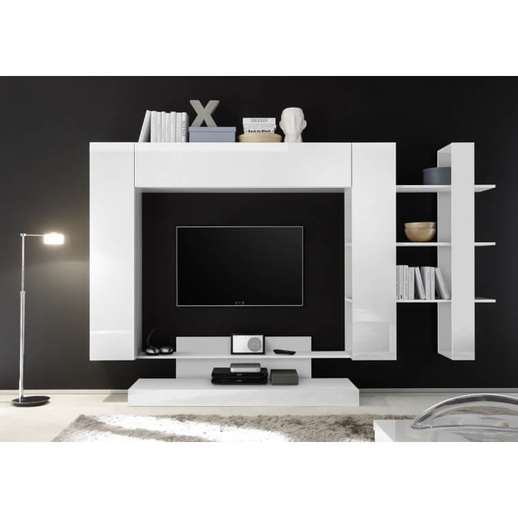 Banc Tv Design Blanc Laque Camargue Matelpro