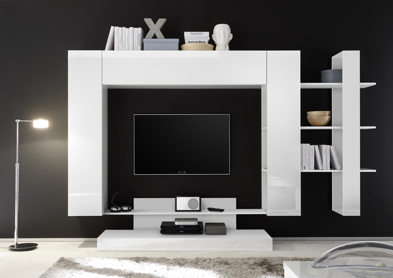 banc tv design blanc laqué camargue | matelpro