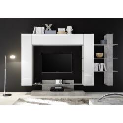 Banc TV design blanc laqué/béton Camargue