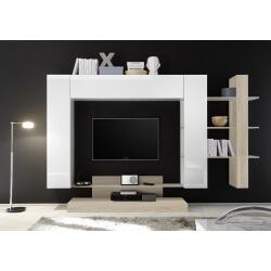 Banc TV design blanc laqué/chêne clair Camargue