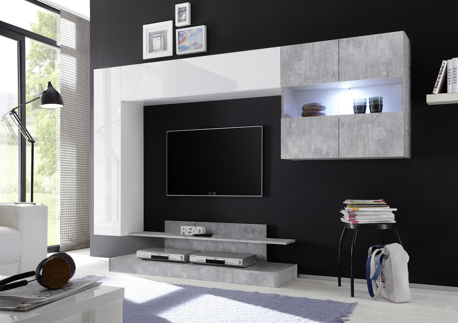 Ensemble TV mural design blanc laqué/béton Camargue