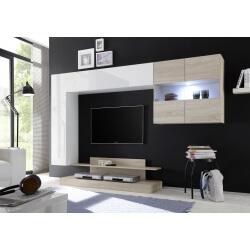 Ensemble TV mural design blanc laqué/chêne clair Camargue