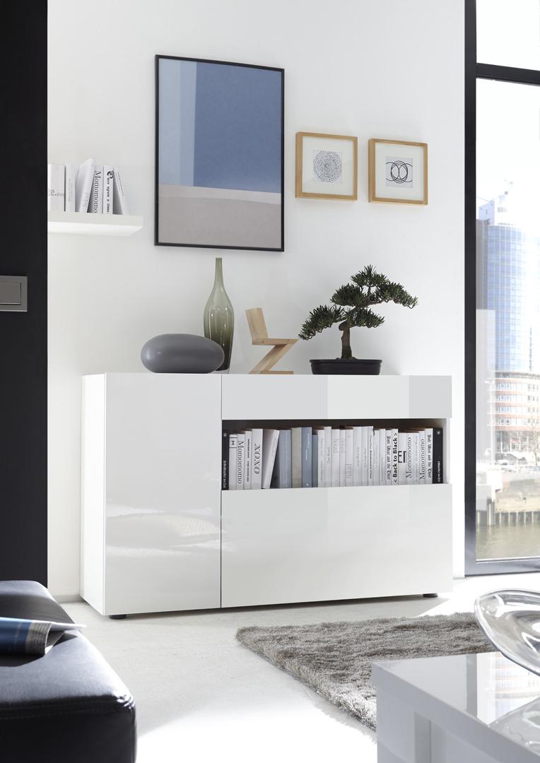Meuble de rangement design blanc laqué Camargue
