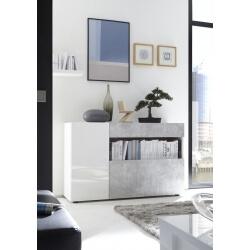 Meuble de rangement design blanc laqué/béton Camargue