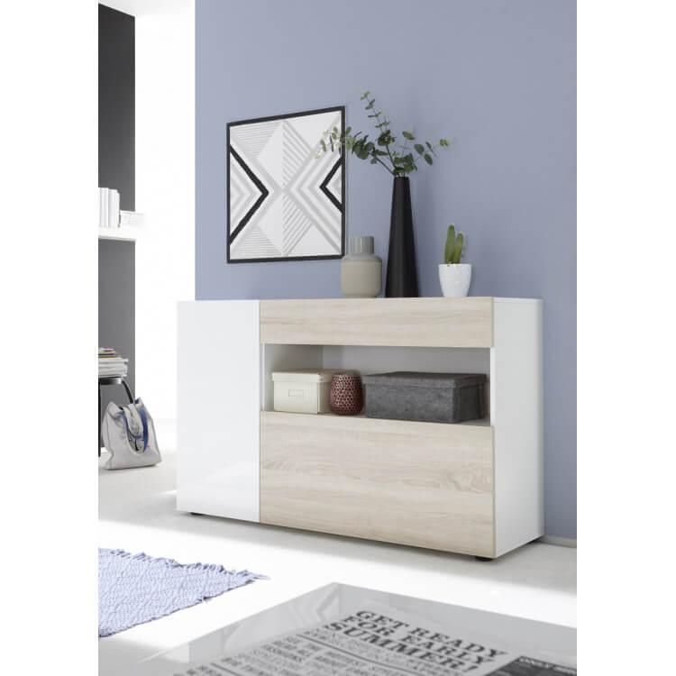 Meuble de rangement design blanc laqué/chêne clair Camargue
