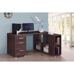 Bureau d'angle contemporain coloris noyer Amira