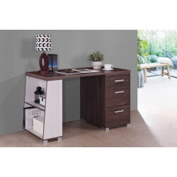 Bureau contemporain coloris noyer/blanc Amira