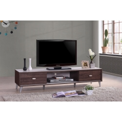 Meuble TV contemporain 150 cm coloris noyer/blanc Amira