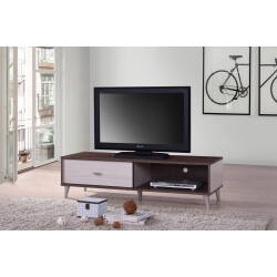 Meuble TV contemporain 120 cm coloris noyer/blanc Amira