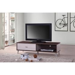 Meuble Tv Contemporain 120 Cm Coloris Noyer Blanc Amira Matelpro
