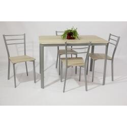 Ensemble table et 4 chaises contemporain métal et bois chêne clair Greta