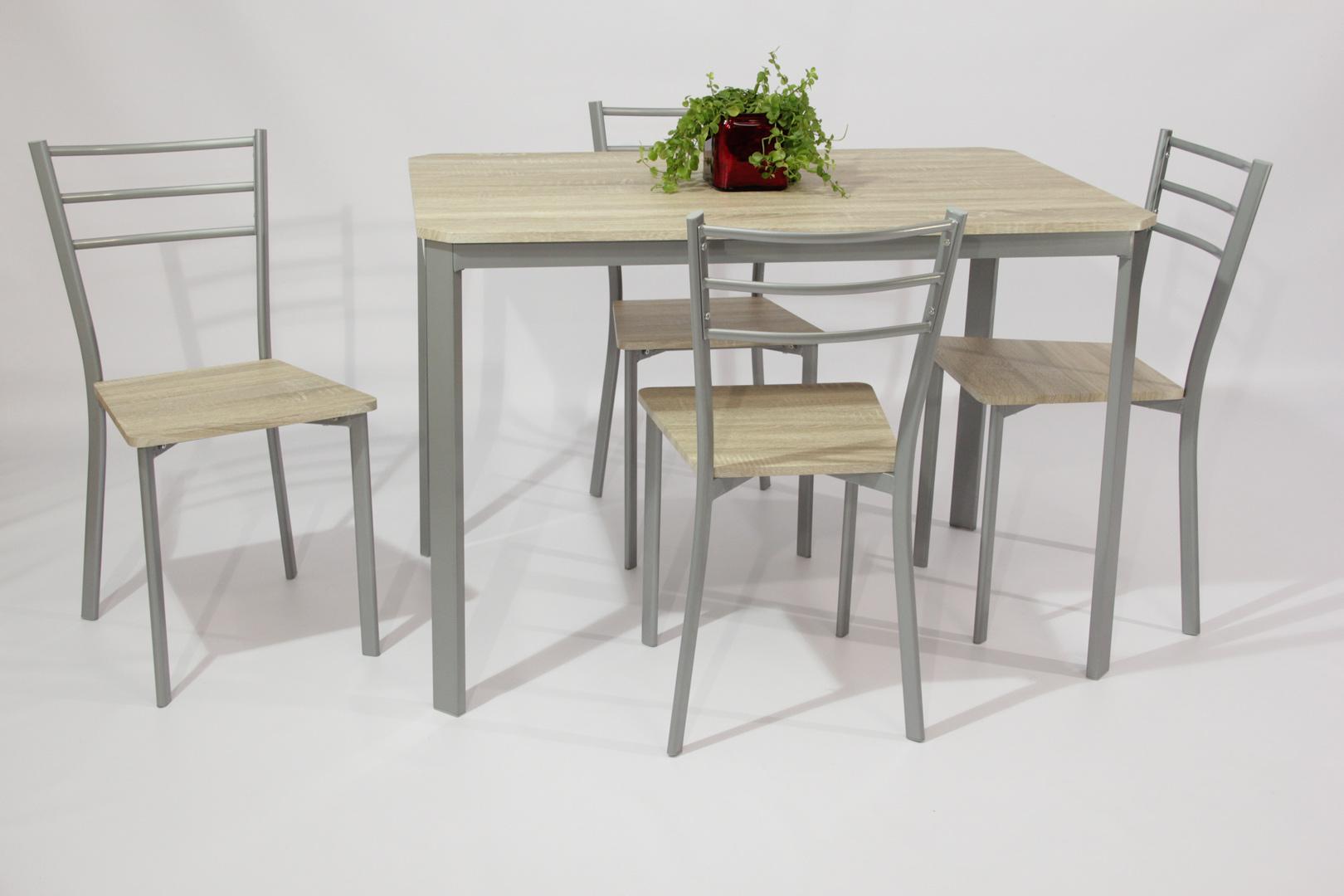 Table En Bois Chene Clair ensemble table et 4 chaises contemporain métal et bois chêne clair greta
