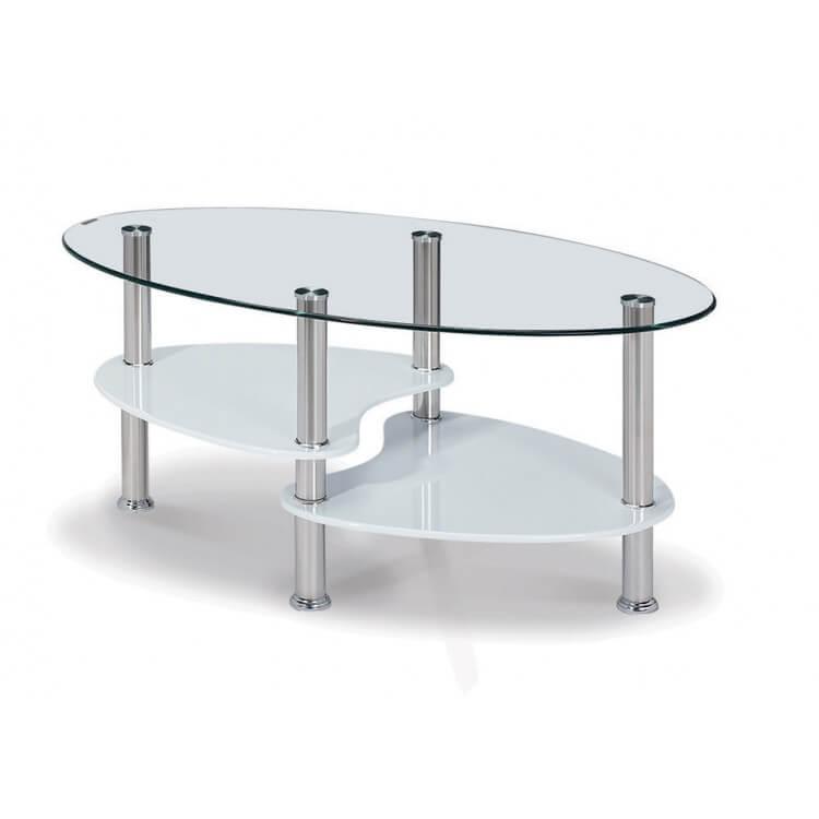 Table basse design ovale en verre MDF blanc laqué Konie   Matelpro 1173b4b66d5e
