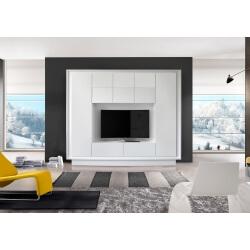 Banc TV design laqué blanc mat Larissa
