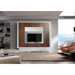 Banc TV design laqué blanc mat/noyer Diane