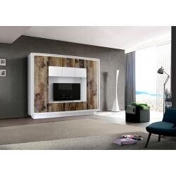 Banc TV design laqué blanc mat/chêne Clotilde