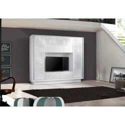 Banc TV design laqué blanc mat/sérigraphie fleurs Monica
