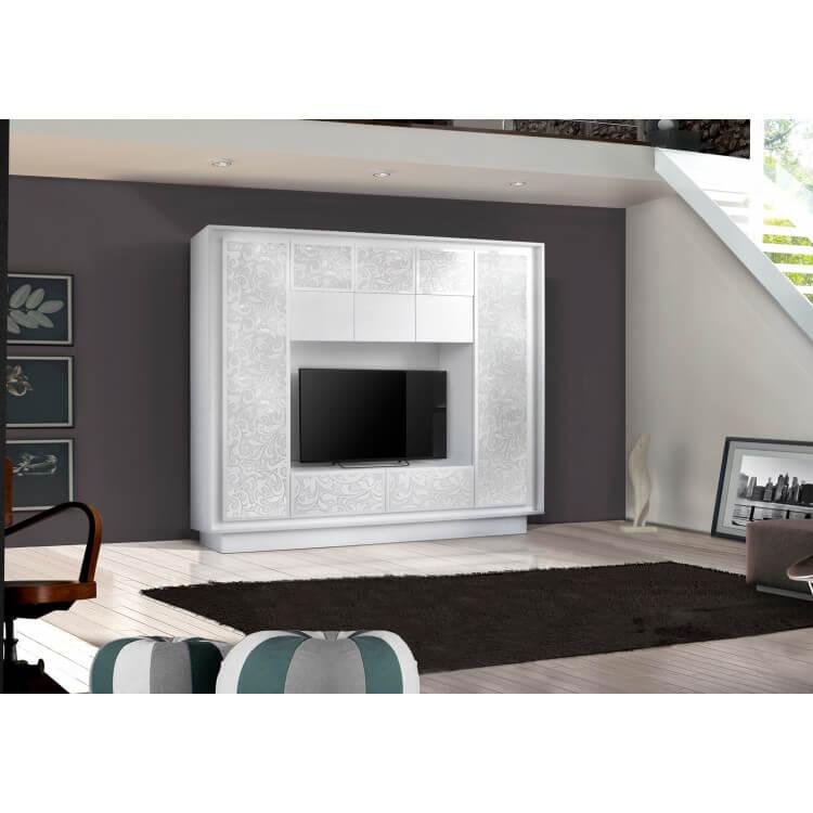 Banc Tv Design Laqué Blanc Matsérigraphie Fleurs Monica Matelpro