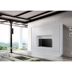 Banc TV design laqué blanc mat/sérigraphie rayures Etienne